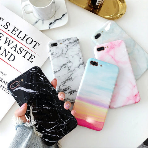 Marble Phone Case For (iPhone X ,7, 6 ,6S, 8 Plus)
