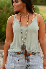 BEADED CONCHO TASSEL NECKLACE