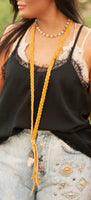 MUSTARD BRAIDED LEATHER NECKLACE