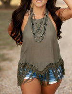 EASY DAYS OLIVE TANK TOP