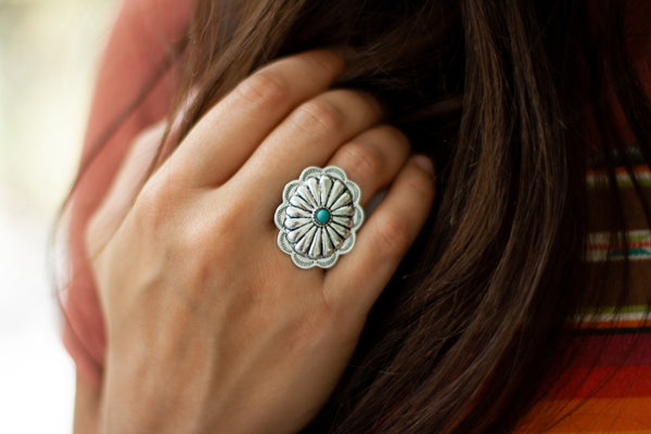 SILVER CONCHO RING WITH TURQUOISE STONE