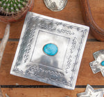 RUSTIC SILVER SQUARE STAMPED BOX