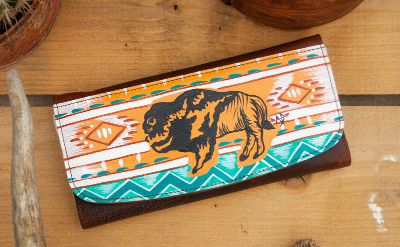 BUFFALO HAND PAINTED WALLET