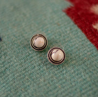 NATURAL WHITE STONE POST EARRINGS