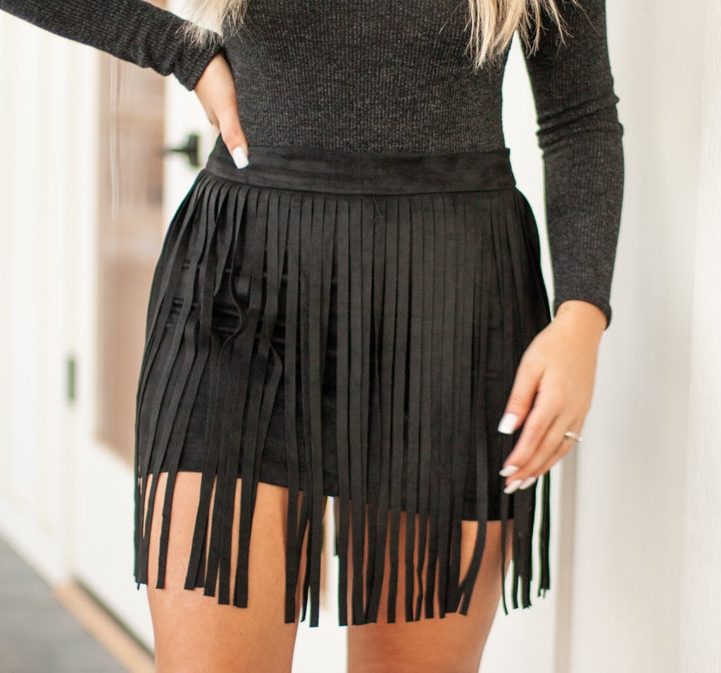SHEDAISY FRINGE SKIRT