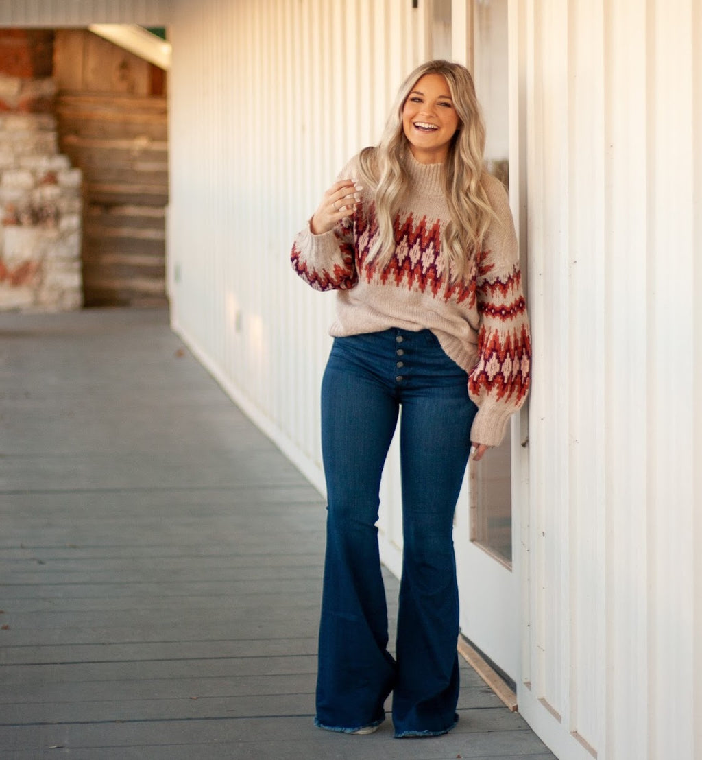 MAUVE AZTEC TURTLE-NECK SWEATER