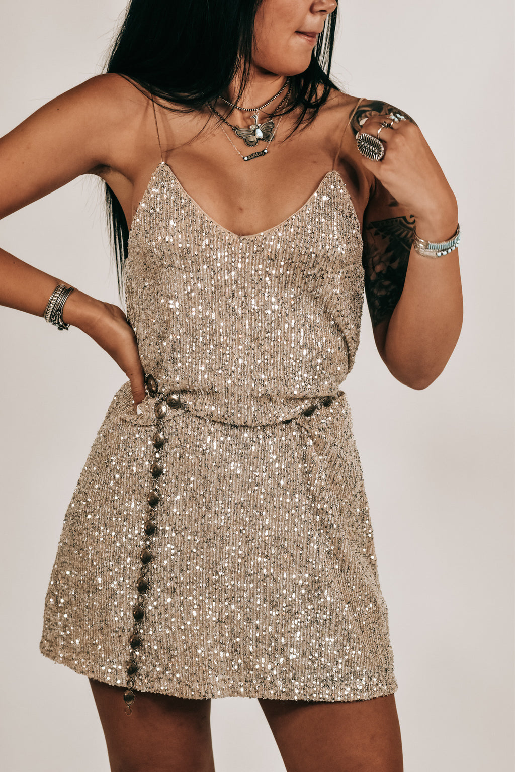 SEQUINS TUNIC DRESS
