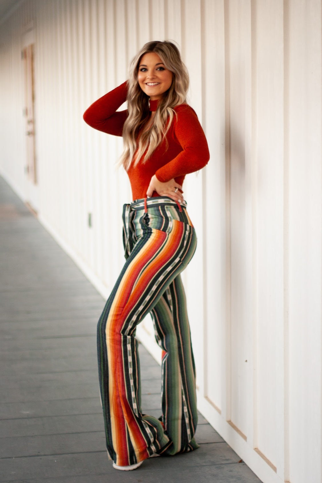 SERAPE HIGH WAIST TIE FLARE PANTS