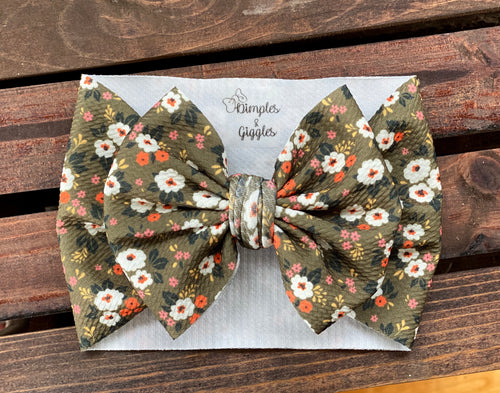 Olive Fall Floral - Head Wrap