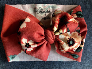 Burnt Orange Floral Head Wrap - SALE