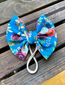 Teal Fall Floral Big Bow
