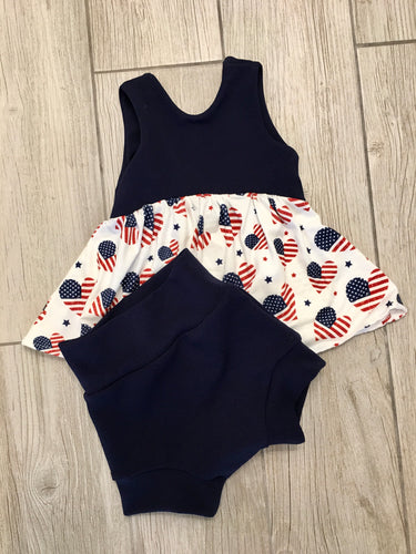 Flag Hearts/Navy -4th- Bummies and Peplum Outfit