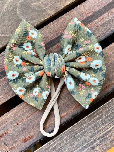 Olive Fall Floral Big Bow