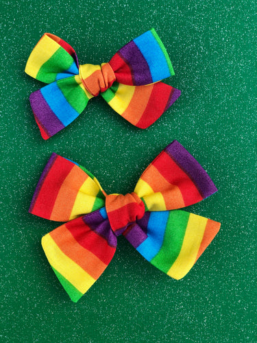 Rainbow - Fabric Hand Tied Bow