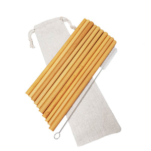 Bamboo Straws Reusable 10 Pack | Eco Straw Set With Brush and Pouch