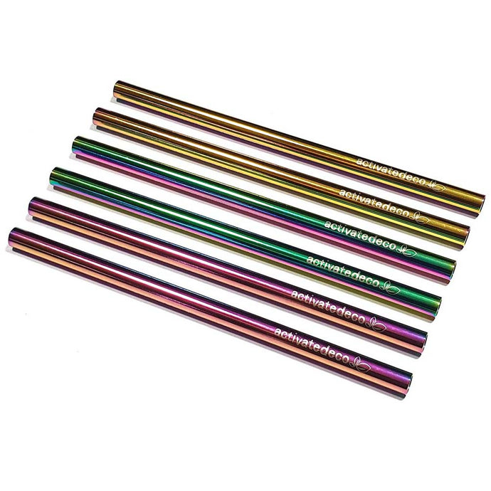 Cocktail Short Stainless Steel Straw Rainbow 120mm | Colour Eco Straws