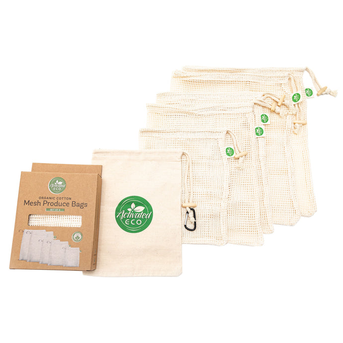 Organic Cotton Mesh Produce Bags - Set of 5