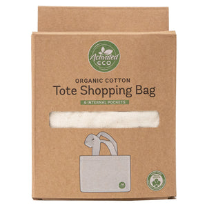 Organic Cotton Tote Shopping Bag with Pockets