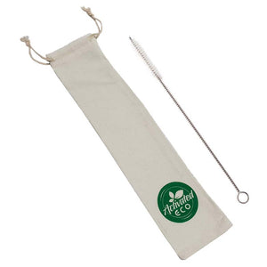 Cotton Reusable Straw Storage Pouch & Brush | Eco Drawstring Bag