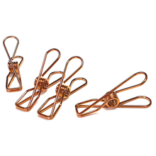 Twin Pack Rose Gold Stainless Steel Infinity Clothes Pegs 40 Regular & 10 Large