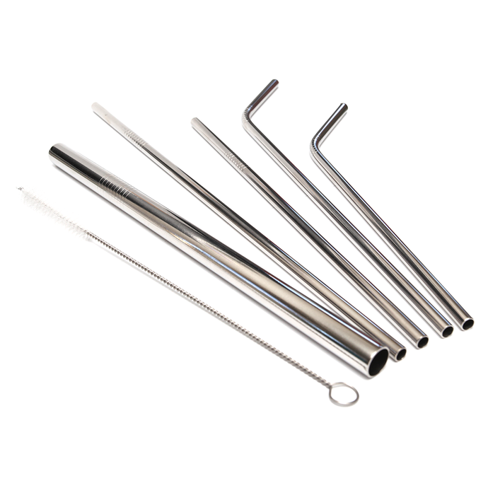 Silver Stainless Steel Straw Set