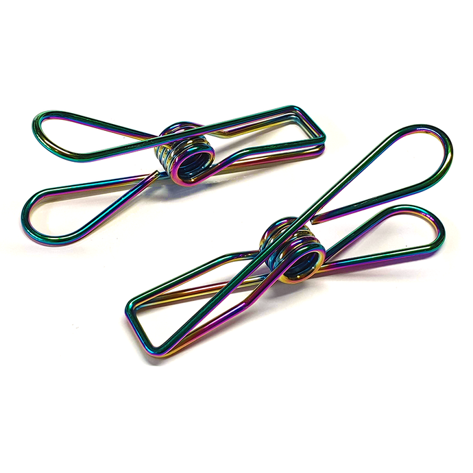 Rainbow Stainless Steel Infinity Clothes Pegs Large Size - 100 Pack