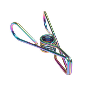 Twin Pack Rainbow Stainless Steel Infinity Clothes Pegs 40 Regular & 10 Large