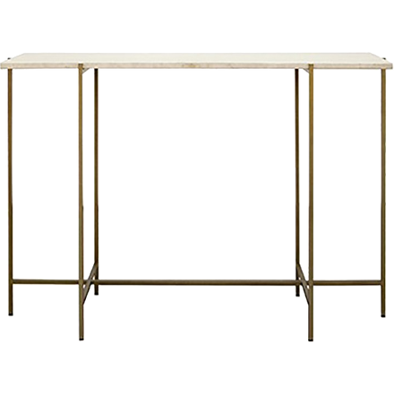 Bronze console table base with white wood marble top.