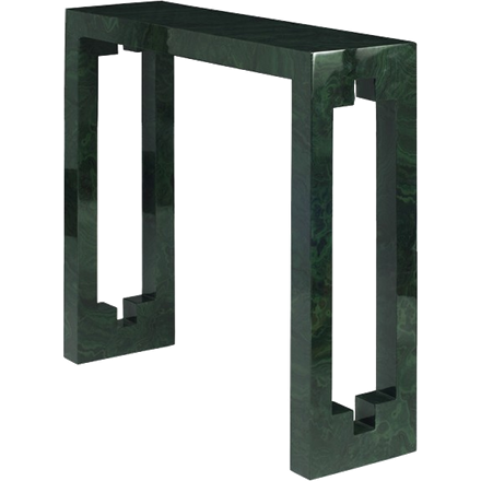 Console table in malachite with cutout detail on side.