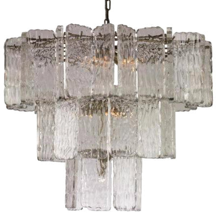 Aberdeen Chandelier - Tiered chandelier made of lucite and aged brass.