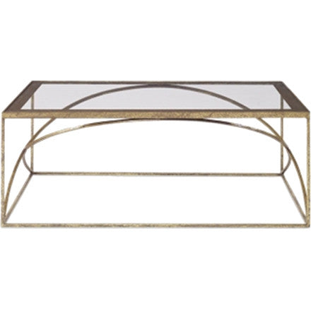 Adelaide Coffee Table - Stunning hammered kings gold coffee table with clear and champagne gold border and a glass top.