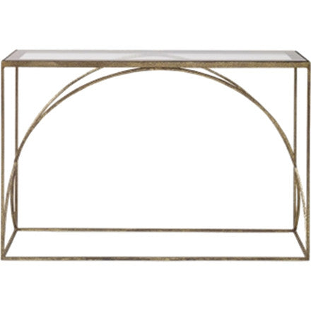 Adelaide Console Table - Hammered kings gold console table with clear and champagne gold border and a glass top