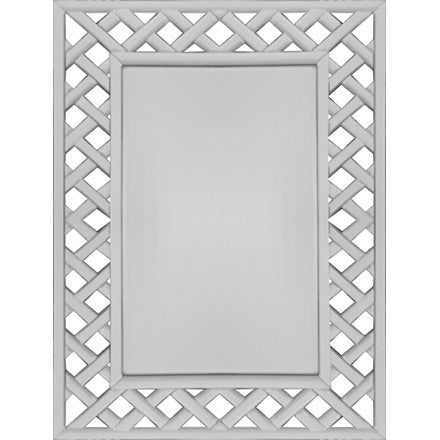 Worlds Away Adrienne rectangular mirror with a mirrored lattice frame. This can be hung vertically or horizontally.