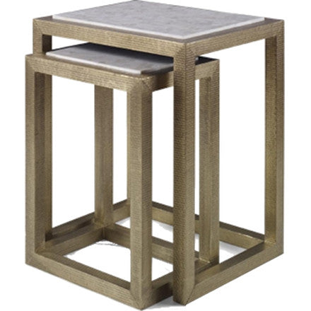 Albaninni Nesting Tables - Nesting side tables in stamped brass