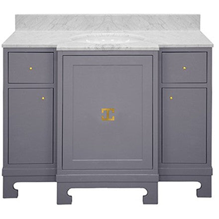 Worlds Away Alice grey lacquer three drawer, two door bath vanity with gold leaf hardware, porcelain sink and a white carrara marble top and backsplash.