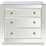 Worlds Away Alicia three drawer chest in beveled mirrors with clear round knobs.