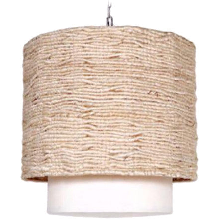 Made Goods Amani Drum Pendant is covered in strands of woven Abaca. The interior drop shade is finished with a natural linen.
