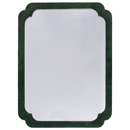 Worlds Away Amelia pinched corner mirror with a malachite frame.