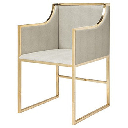 Worlds Away Anabelle beige faux shagreen upholstered dining chair with a brass frame.