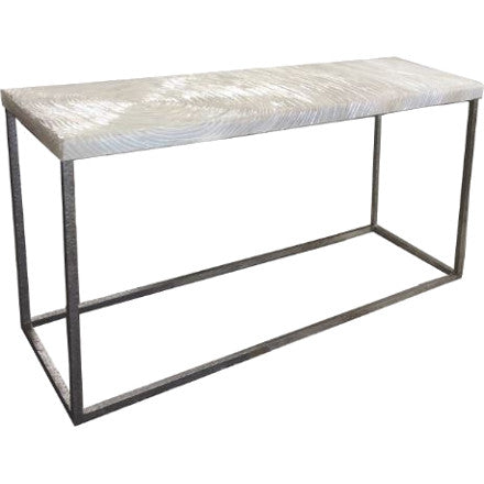 Oly Studio Anni Console Table with an antiqued silver iron base and faux bois textured water resin top.