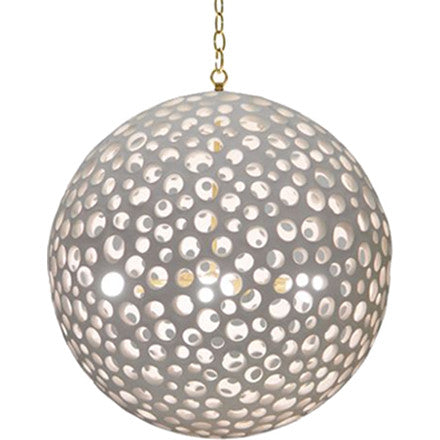 Oly Studio Annika Chandelier made of white resin with holes to emit light and gold hardware.
