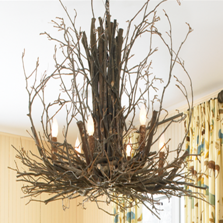 "This natural rustic chandelier is made from tree branches and twigs. Small: 30"" Diameter x 30""H, Large: 36"" Diameter x 36""H."