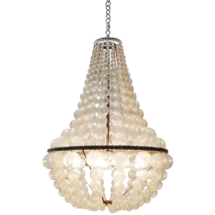 Oly Studio Ariel Chandelier in a teardrop shape with clear, cast resin bubble strands and silver hardware.
