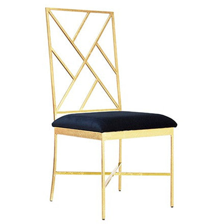 Worlds Away Ashton navy velvet upholstered chair with a fretwork design on the back and a gold leaf frame.