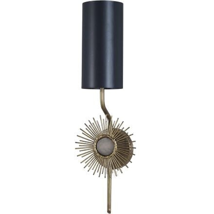 Astral Single Arm Wall Lamp - Aged brass sconce with a mounting plate