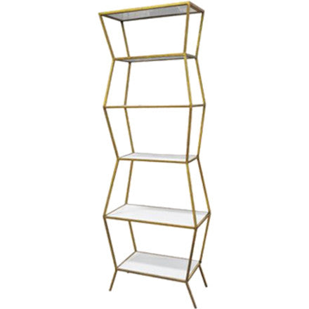 Oly Studio Astro Shelf with an antique gold iron base and and white enamel wood shelves.