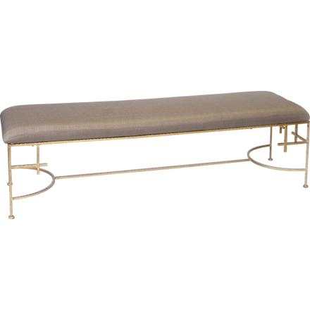 Worlds Away Augusta beige linen upholstered bench with a hammered gold leaf frame.