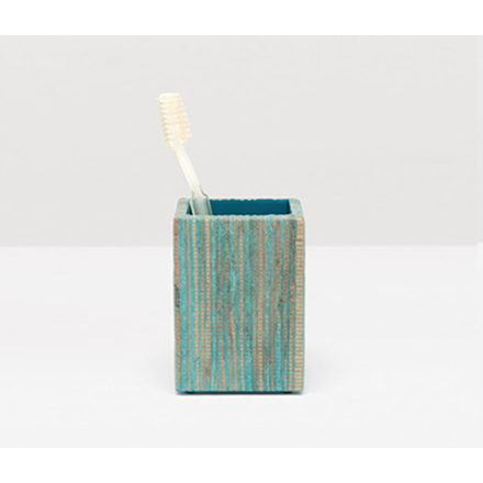 Bali brush holder in aqua