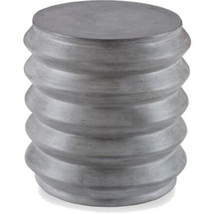 Slate concrete cylinder-shaped stool that may be used indoors or out.
