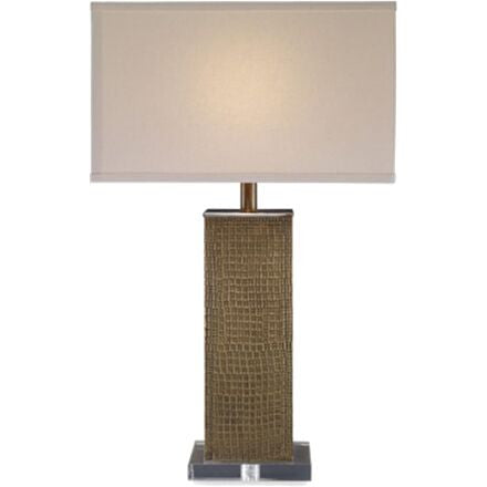 Beauregard Table Lamp - Table lamp with stamped brass on lucite base.